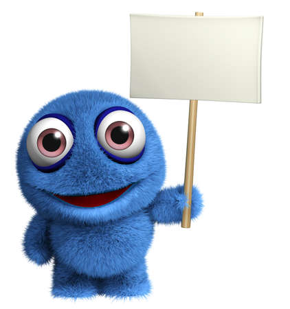 3d cartoon cute monster holding placard Stock Photo