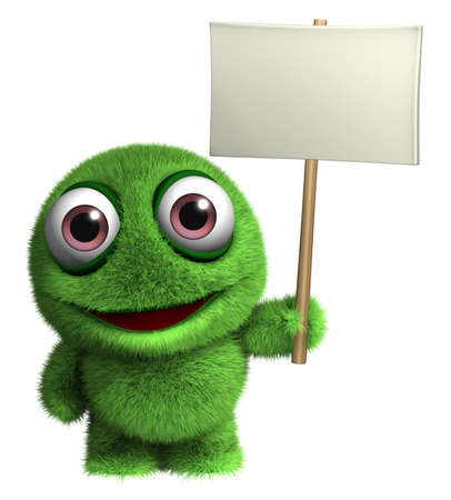 3d cartoon furry alien holding placard photo