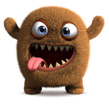 ojos caricatura: Dibujos animados 3d lindo monstruo Foto de archivo