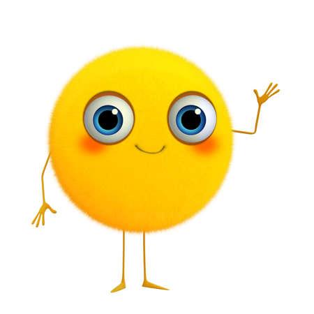 3d cartoon cute yellow ball photo
