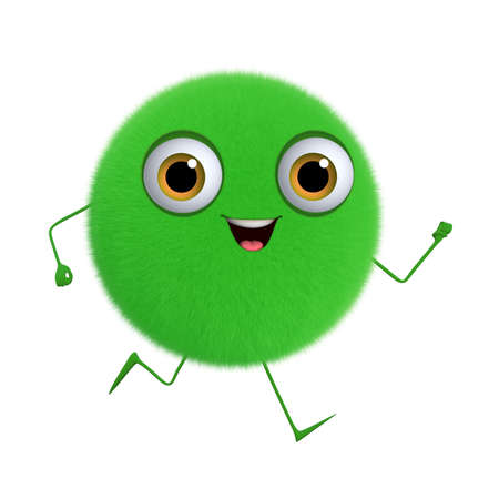 hairy adorable: 3d cartoon cute green ball