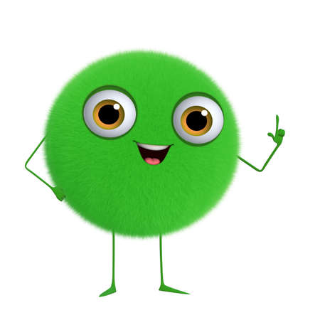 3d cartoon cute green ball Stock Photo - 16844089
