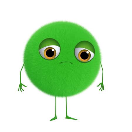 fuzz: 3d cartoon cute green ball