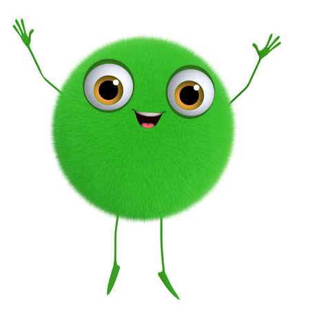 3d cartoon cute green ball photo