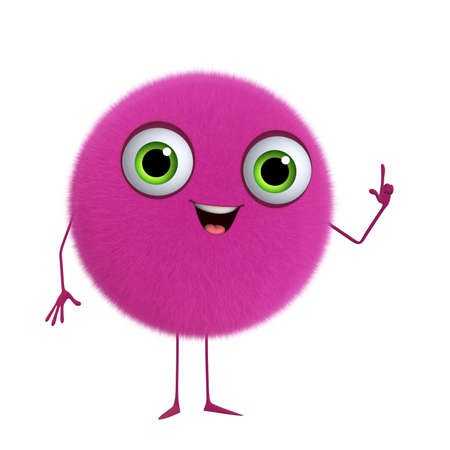 hairy adorable: 3d cartoon cute pink ball Stock Photo