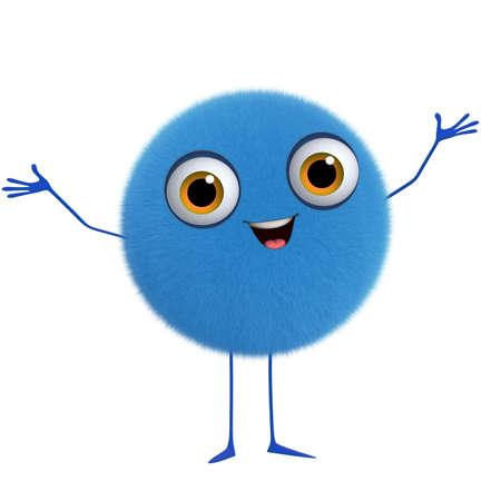 fluff: 3d cartoon cute blue ball