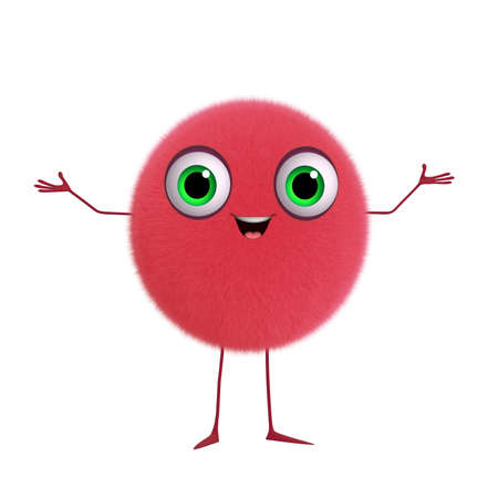 3d cartoon cute red ball