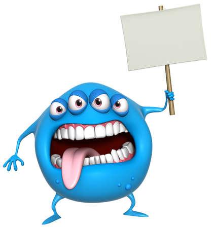 3d cartoon monster holding placard Stock Photo - 18722820