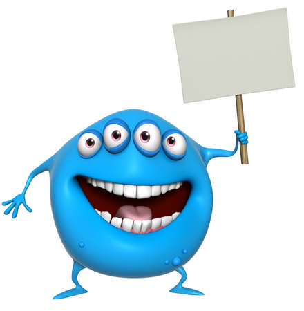 3d cartoon monster holding placard photo