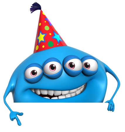 3d cartoon birthday monster photo