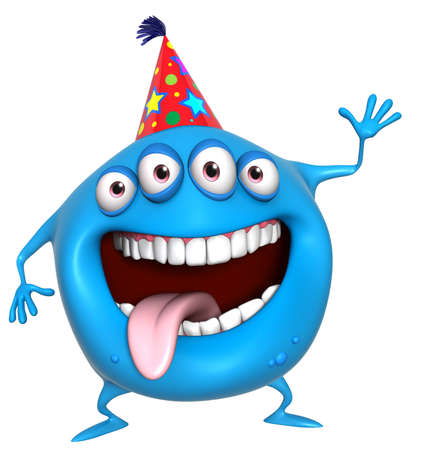 3d cartoon birthday monster photo