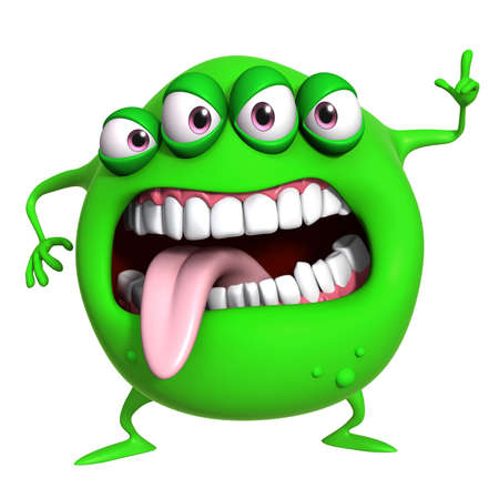 fantasy alien: 3d cartoon green monster