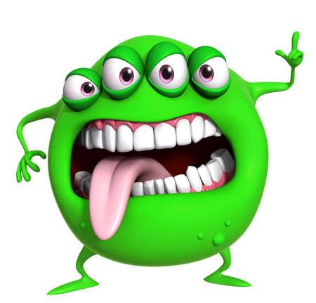 Dibujos animados 3d monstruo verde