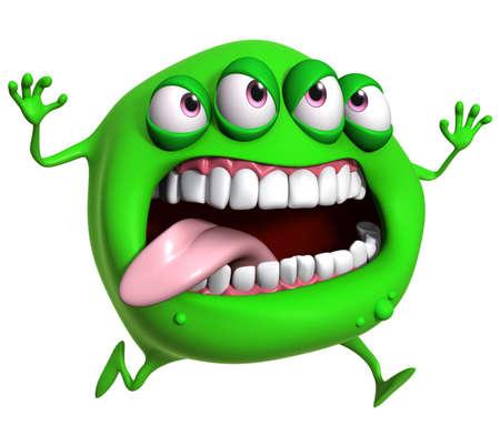 3d cartoon green monster photo