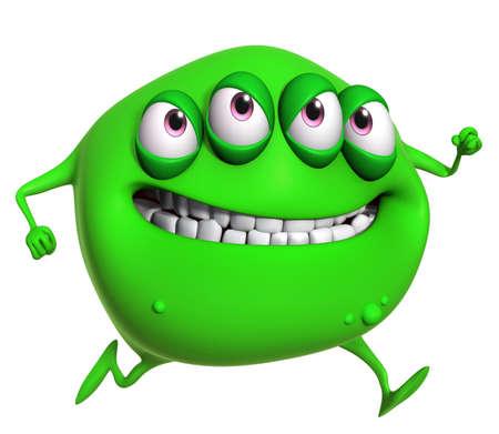 freak: 3d cartoon green monster