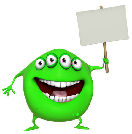 3d cartoon green monster holding placard photo