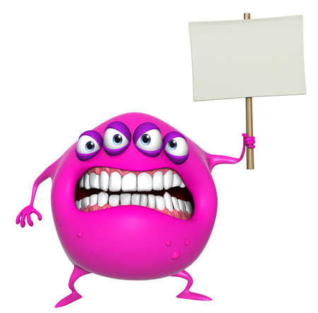 3d cartoon pink monster holding placard Stock Photo - 18722706