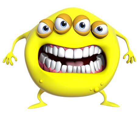 3d cartoon yellow monster photo