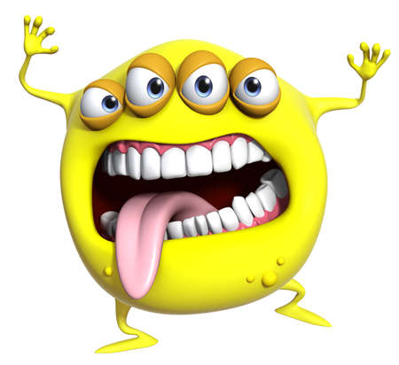 3d scary: 3d cartoon yellow monster
