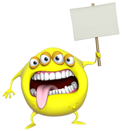 3d cartoon yellow monster holding placard photo