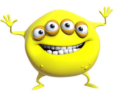 freak: 3d cartoon yellow monster