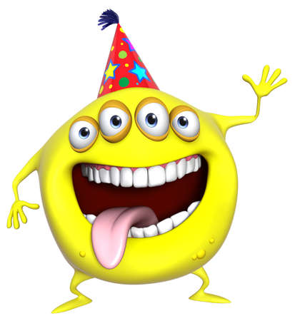 3d scary: 3d cartoon yellow birthday monster