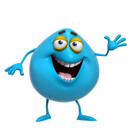 cute monster: 3d cartoon cute blue monster