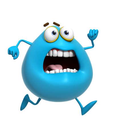 cute monster: 3d cartoon cute blue monster run