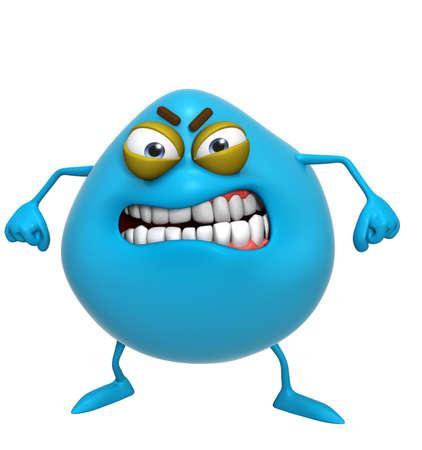 3d cartoon blue monster photo