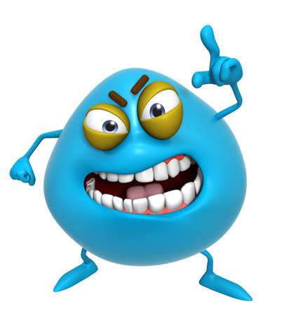 dientes caricatura: Dibujos animados 3d azul lindo monstruo Foto de archivo