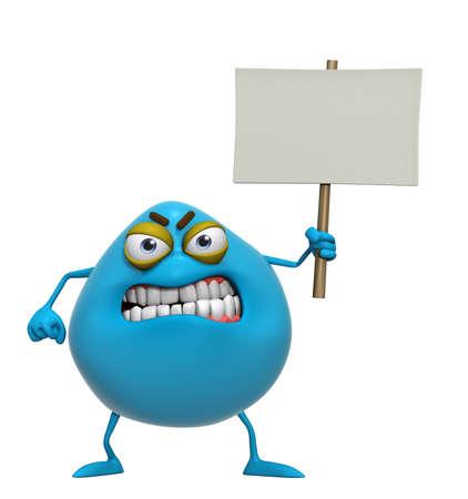 3d cartoon cute blue monster holding placard photo