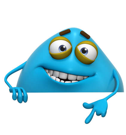 3d cartoon cute blue monster photo