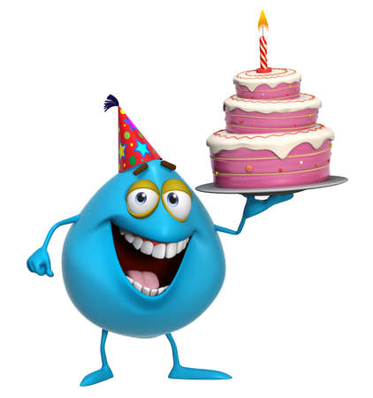 3d cartoon cute blue monster with cake Stock Photo