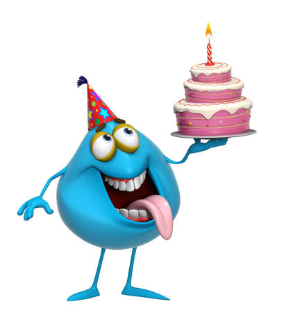 3d cartoon cute blue monster with cake photo