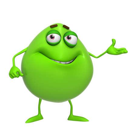 3d cartoon cute green monster photo