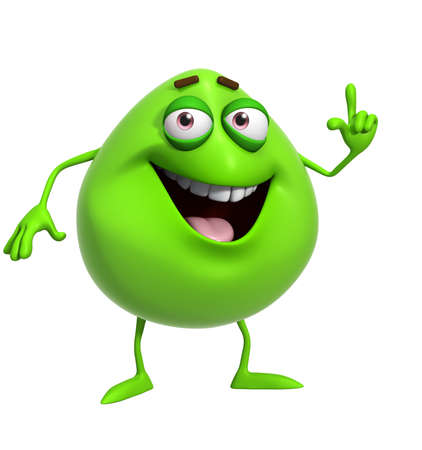 3d cartoon cute green monster photo