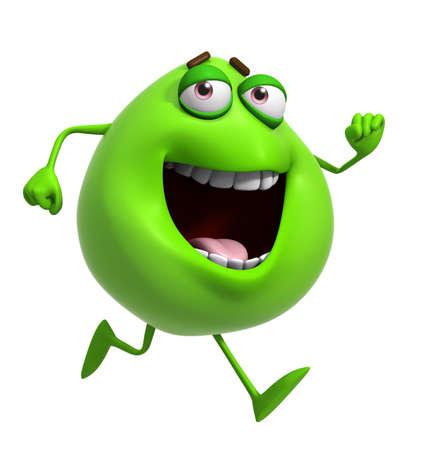 freak: 3d cartoon cute green monster Stock Photo