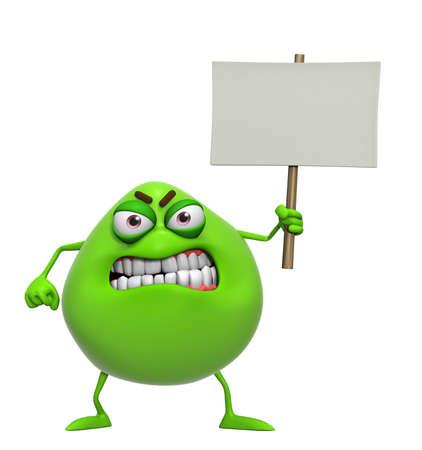 freak: 3d cartoon cute green monster holding placard Stock Photo