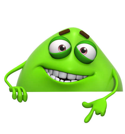 3d cartoon cute green monster Standard-Bild