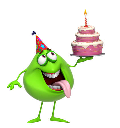 3d cartoon cute green monster with cake photo