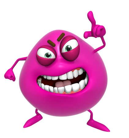 3d cartoon cute pink monster photo