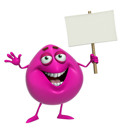 3d cartoon cute pink monster holding placard photo