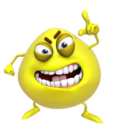 yellow teeth: 3d cartoon cute yellow monster