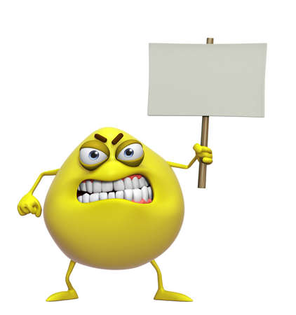 3d cartoon cute yellow monster holding placard photo