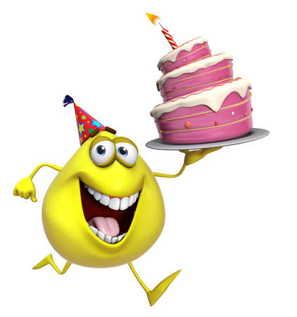 3d cartoon cute yellow monster with cake photo
