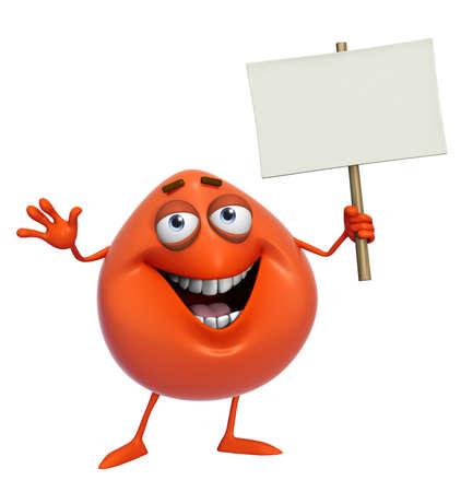 3d cartoon cute red monster holding placard