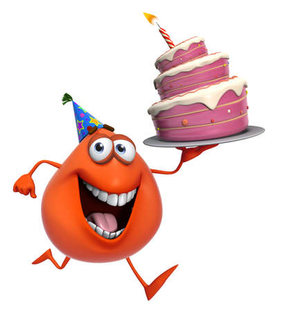 3d cartoon cute red monster with cake photo