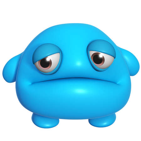 3d halloween: 3d cartoon cute blue monster
