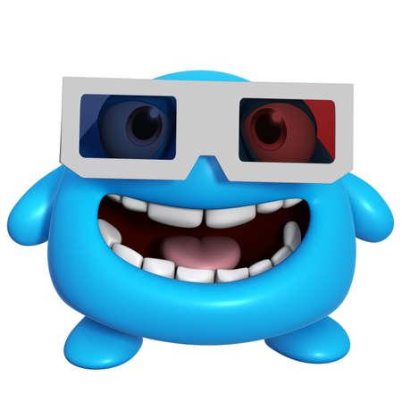 3d cartoon cute blue monster photo