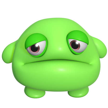 3d halloween: 3d cartoon cute green monster Stock Photo